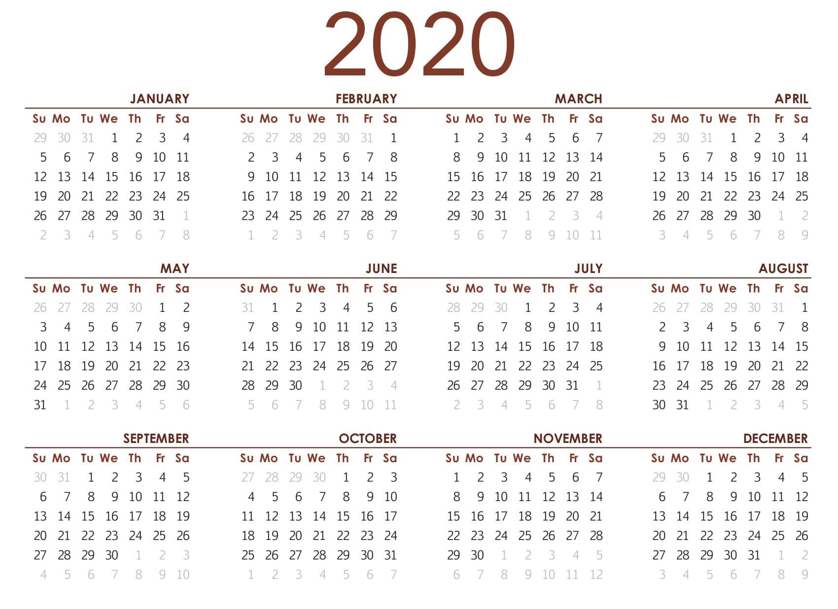 Printable 2020 Calendar For Kids