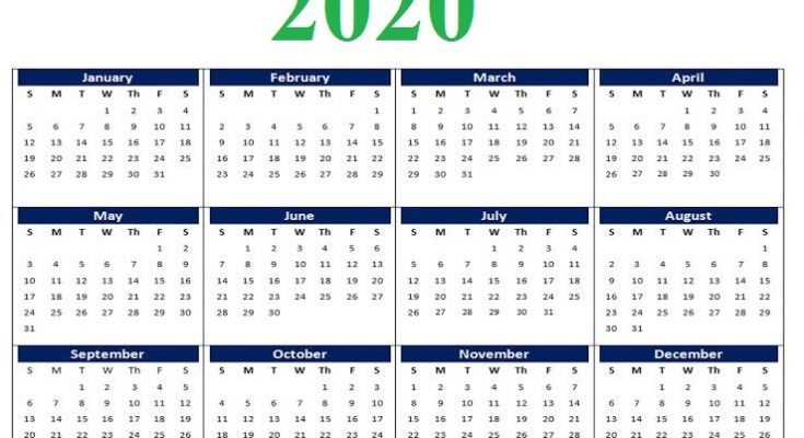 Printable 2020 Calendar Free