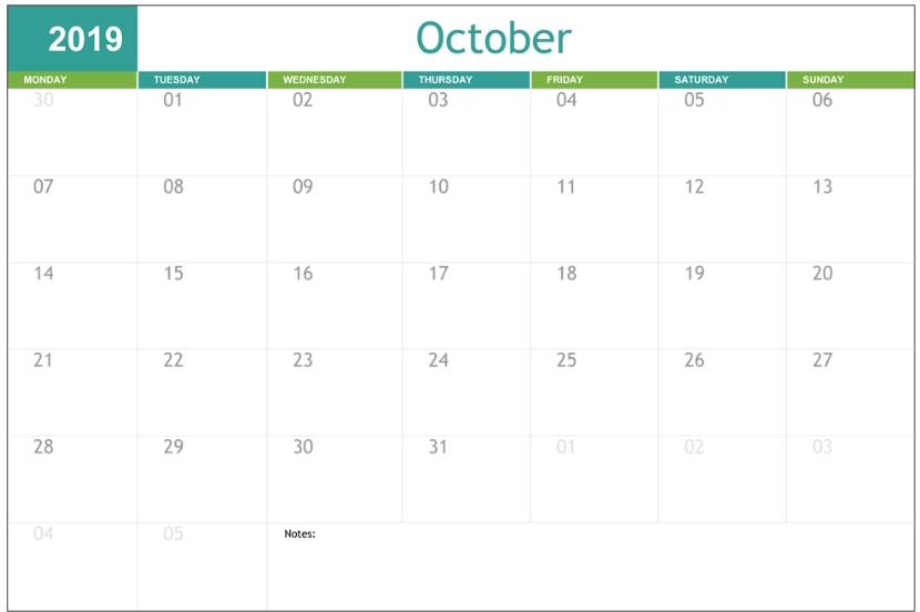 Printable Cute October 2020 Calendar