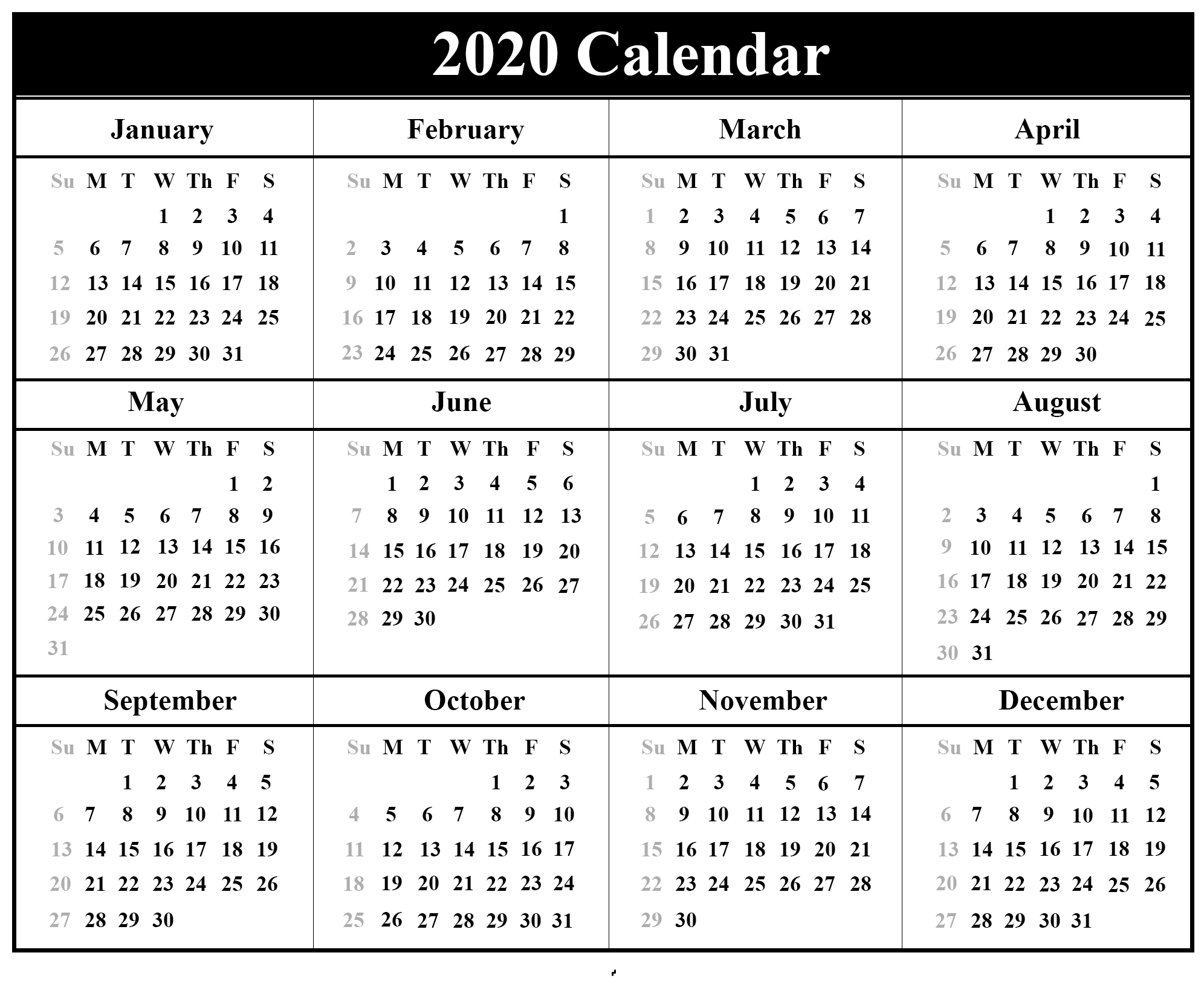 Yearly 2020 Calendar For Children