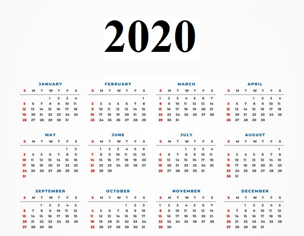 Yearly 2020 Calendar Landscape
