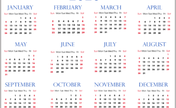 Yearly 2020 Calendar Printable