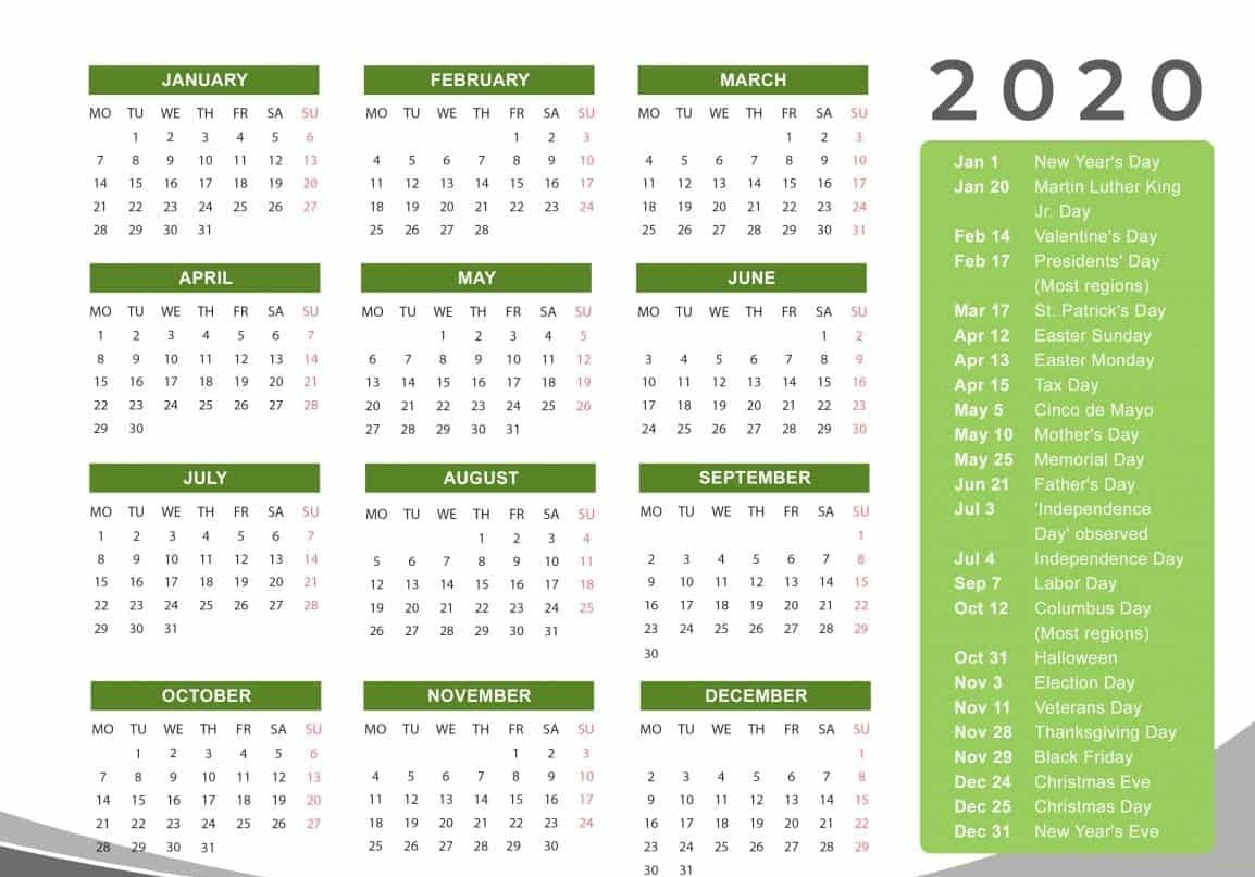 Yearly 2020 Calendar Vertical