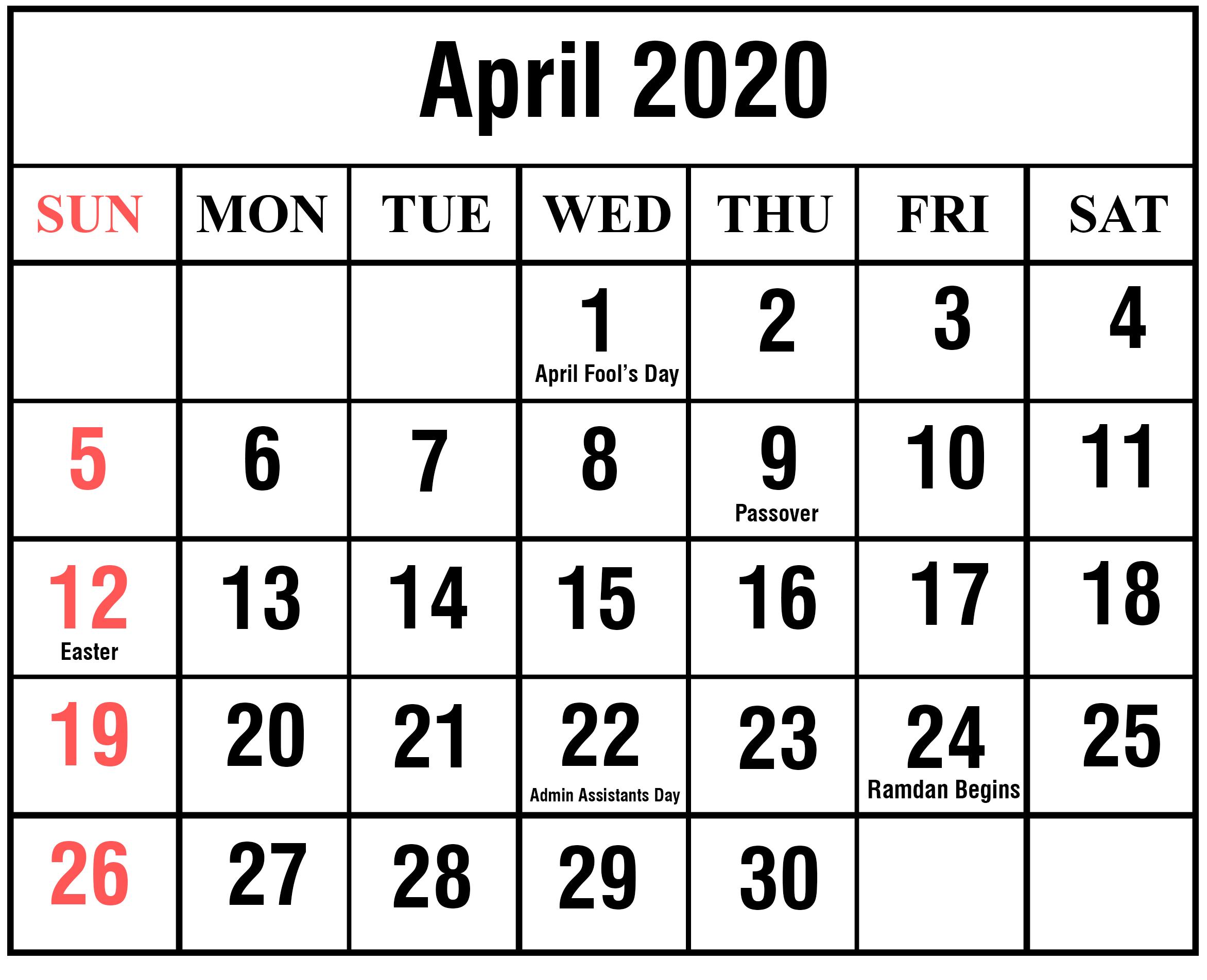 2020 April Monthly Calendar