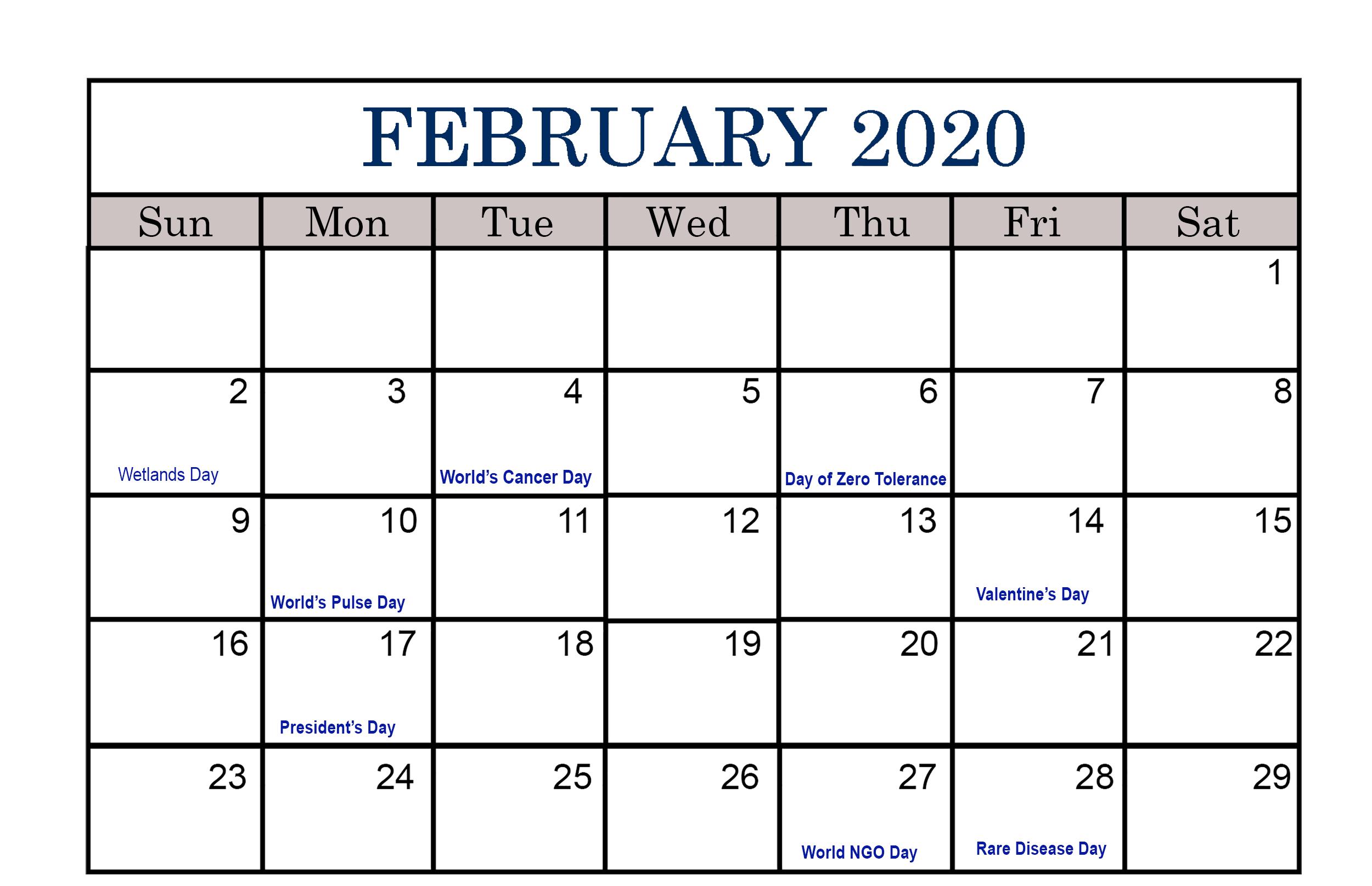 2020 Calendar February Excel
