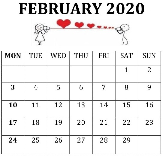 2020 Calendar February Template