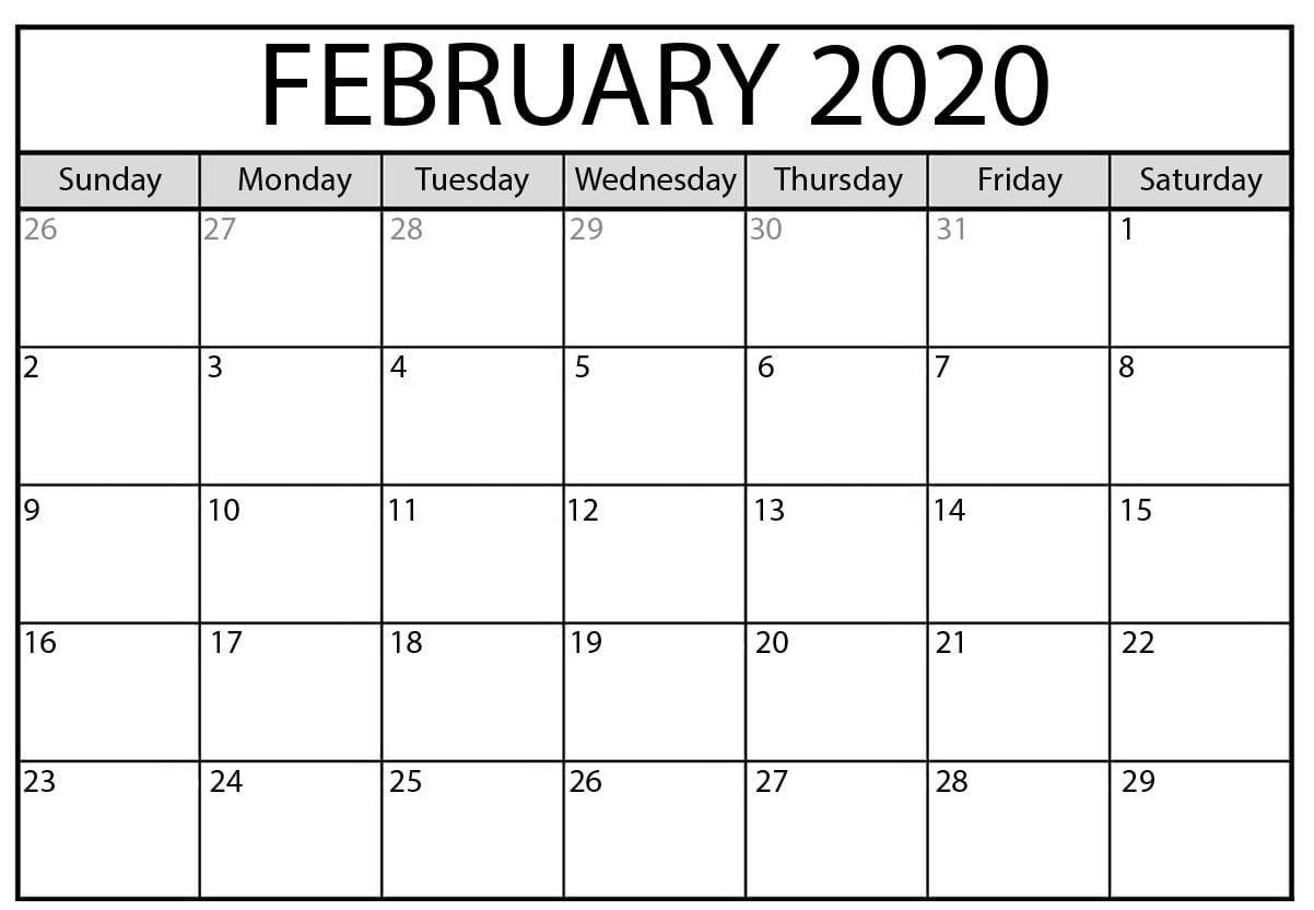 2020 February Calendar PDF