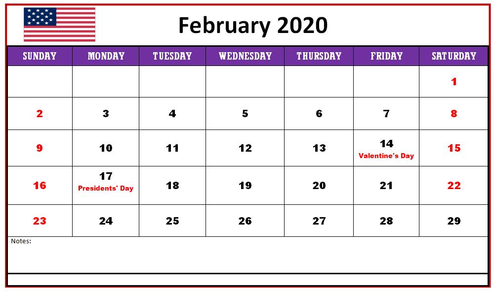 2020 February Calendar Printable