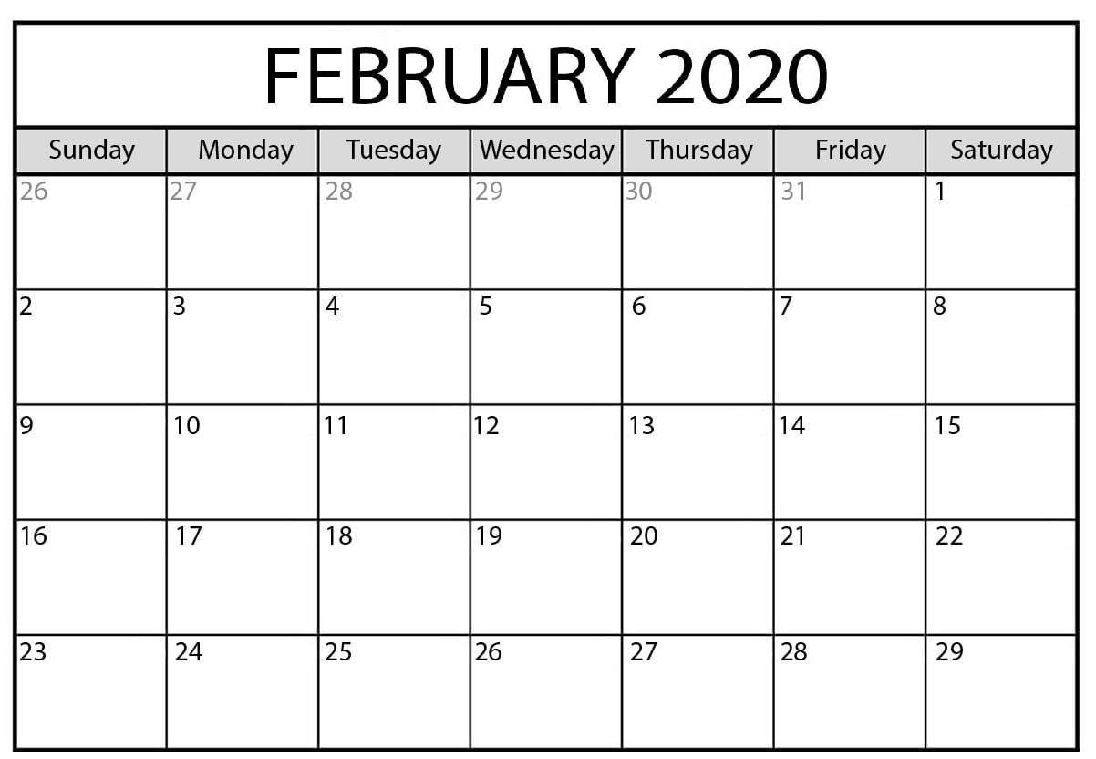 2020 February Monthly Calendar