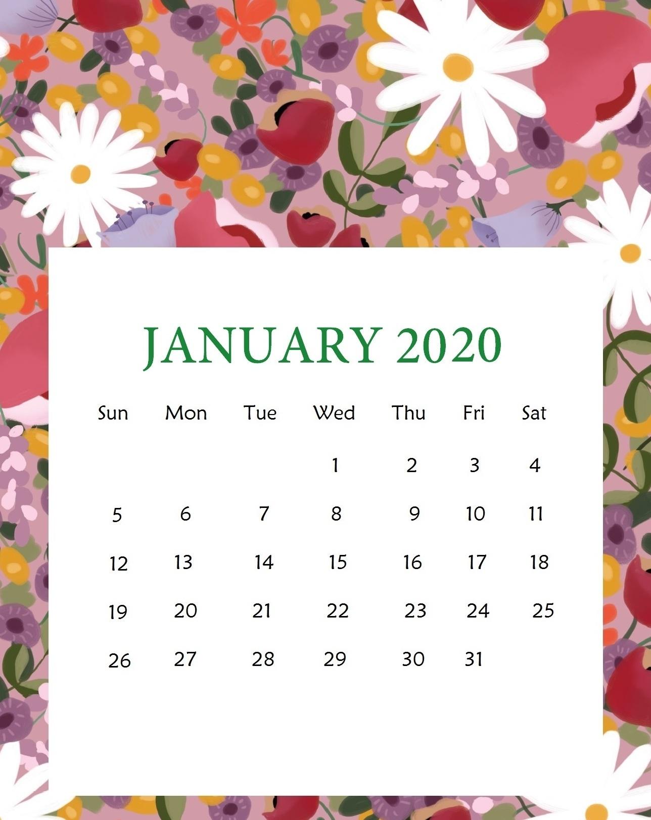 2020 January Calendar Excel