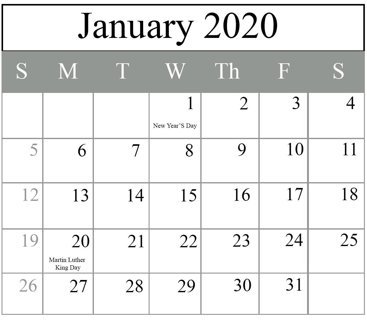 2020 January Calendar With Holidays