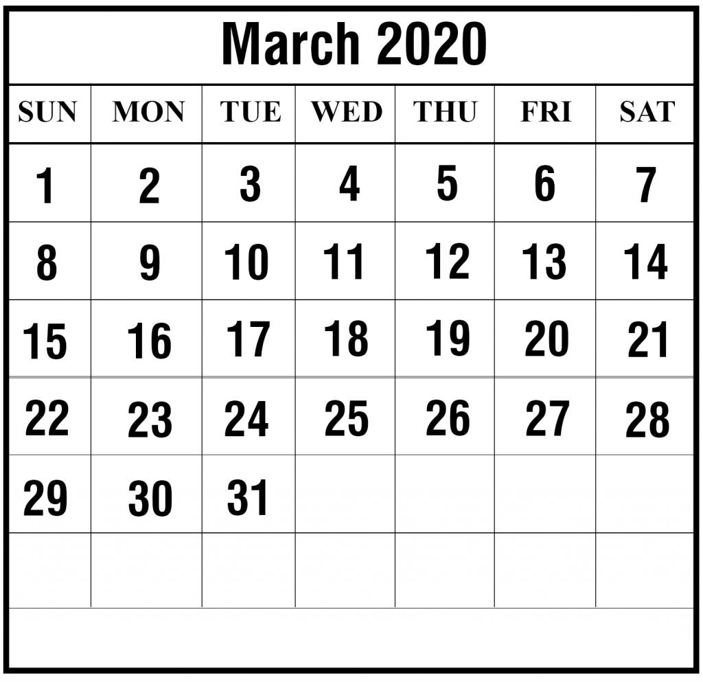 2020 March Calendar PDF