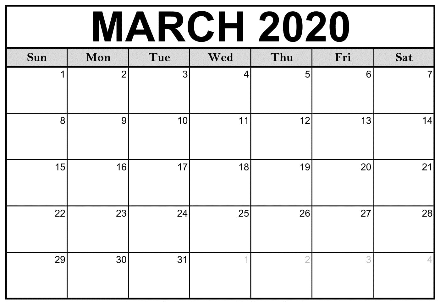 2020 March Calendar Template