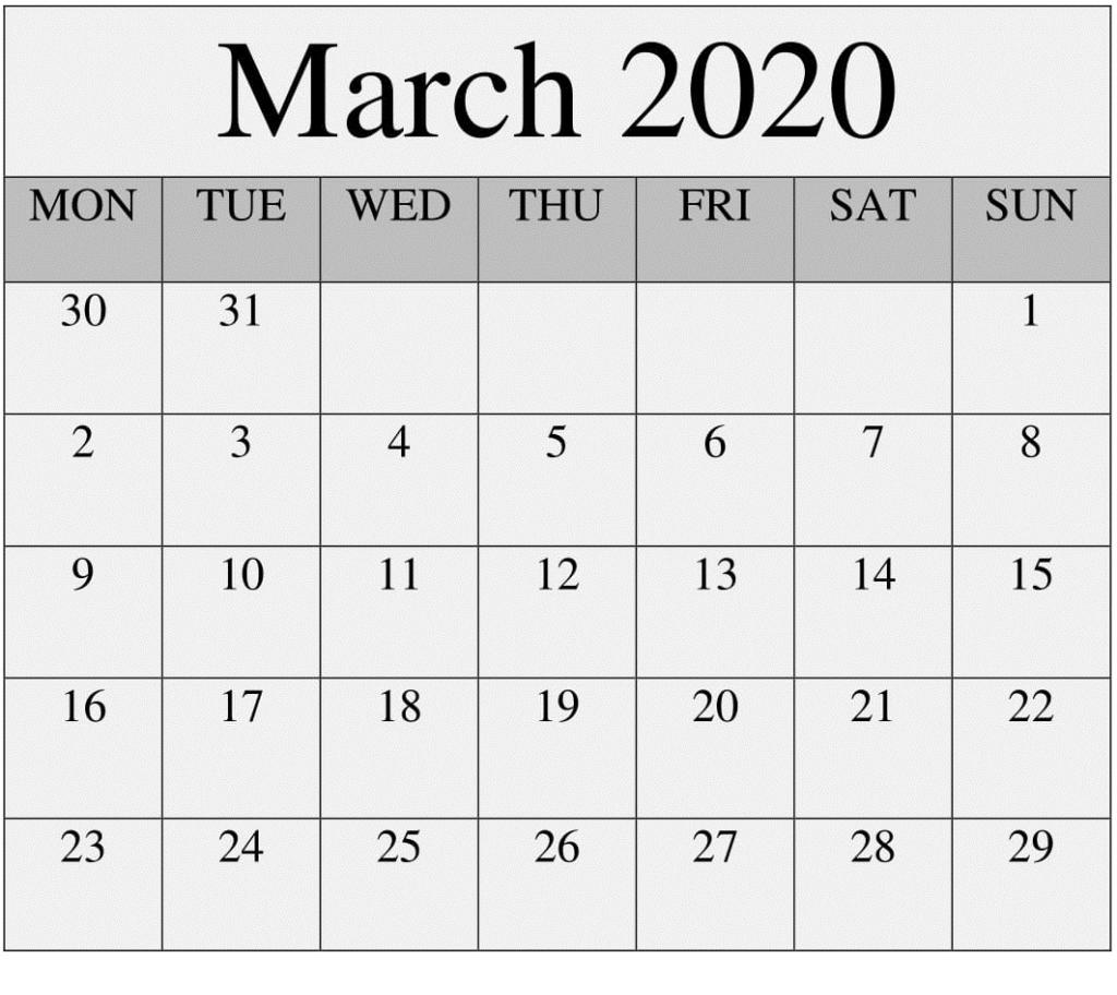 2020 March Calendar