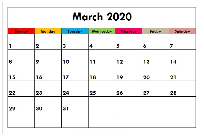 2020 March Monthly Calendar