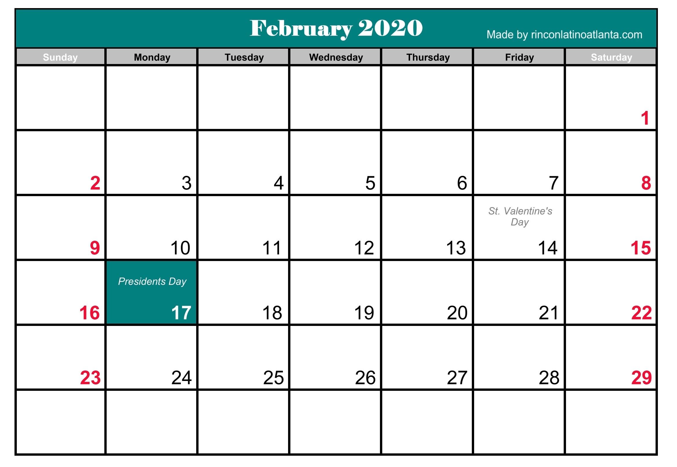 2020 Monthly Calendar 2020 February