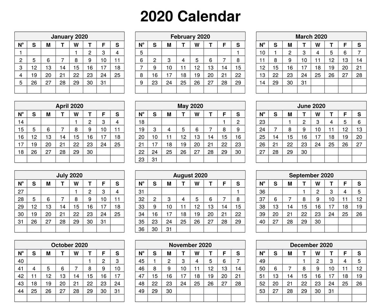2020 Template Calendar