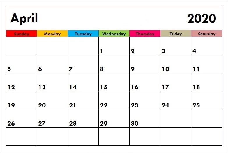 April 2020 Calendar Cute
