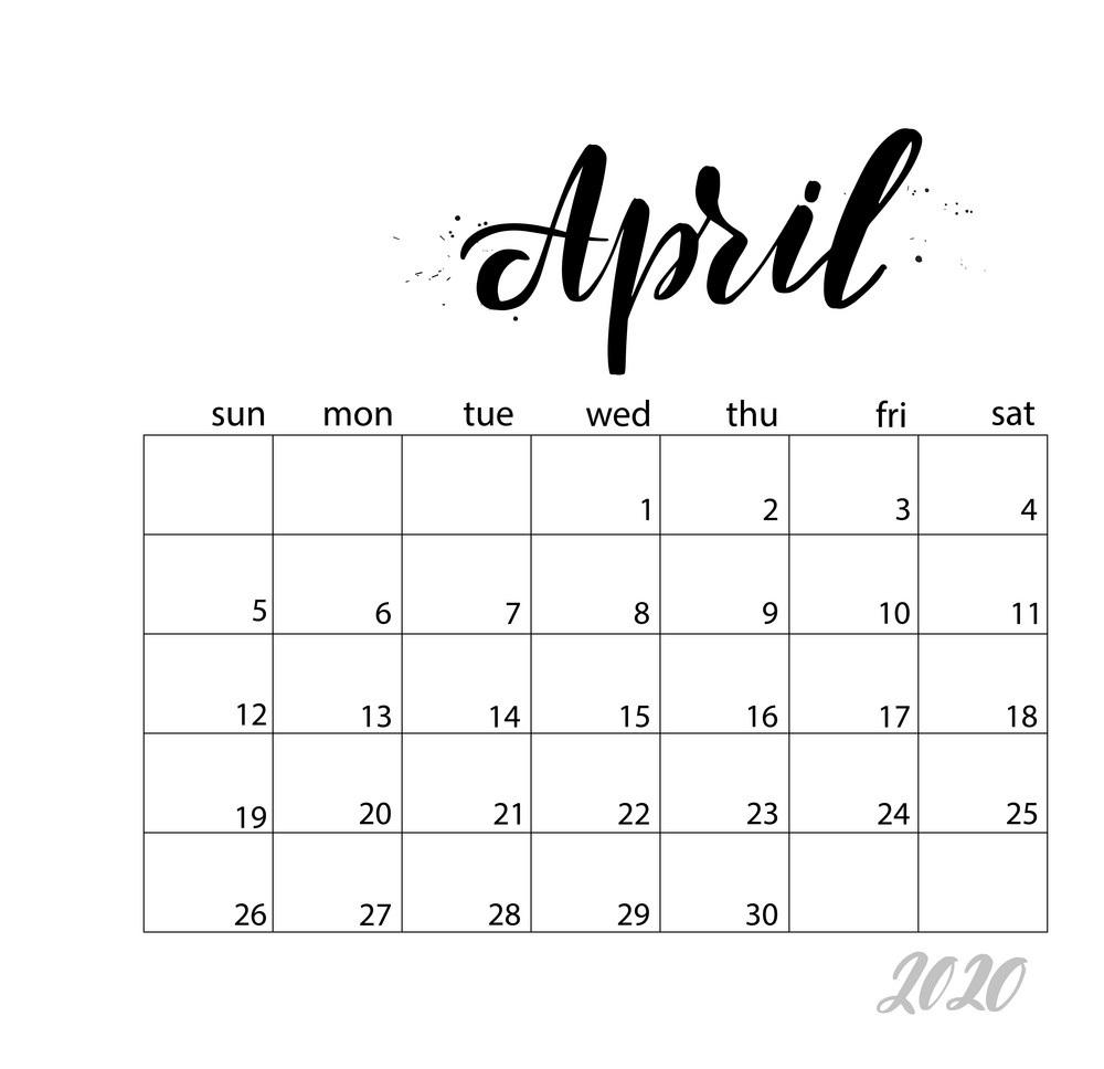 April 2020 Calendar Monthly