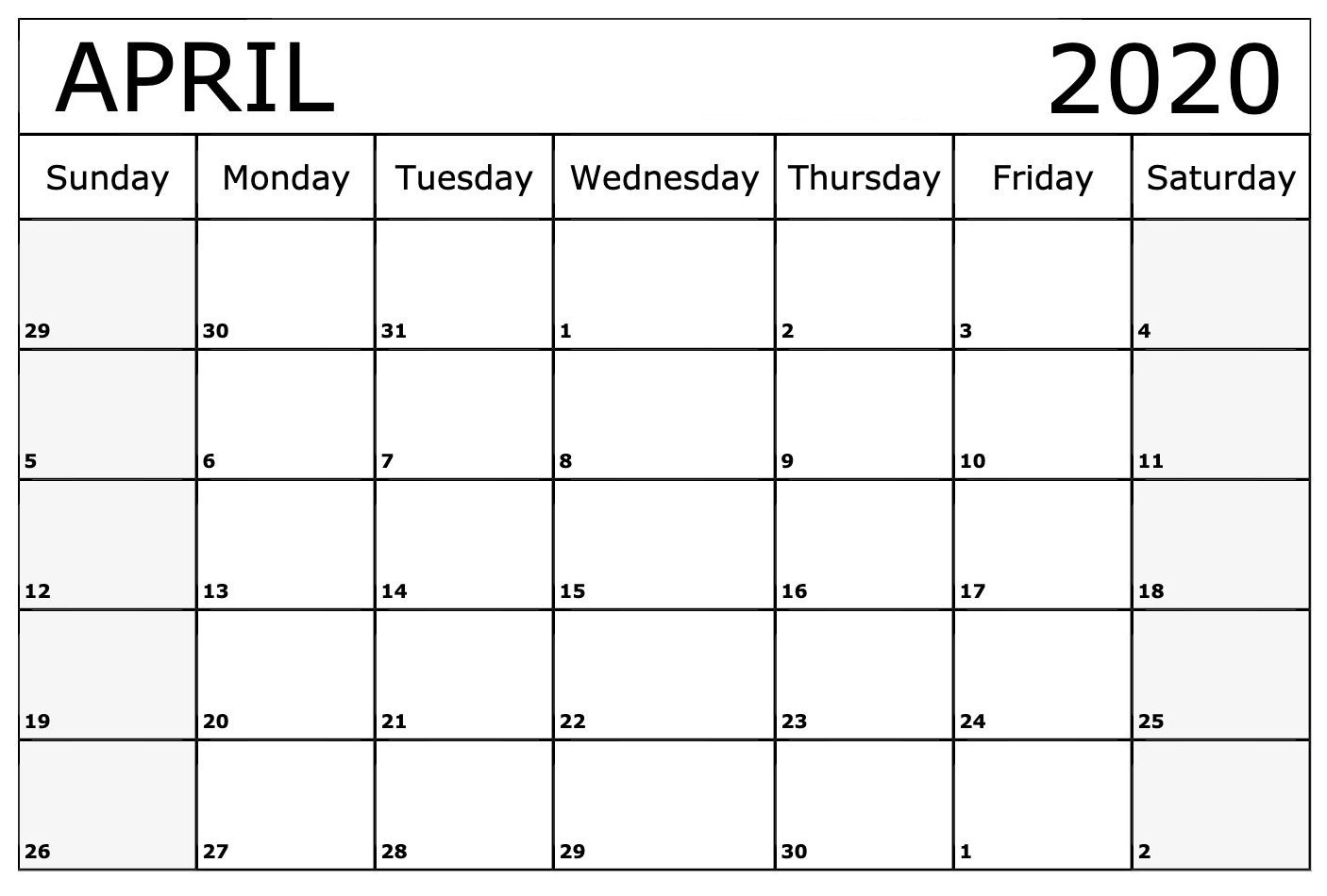 April 2020 Calendar Template Download