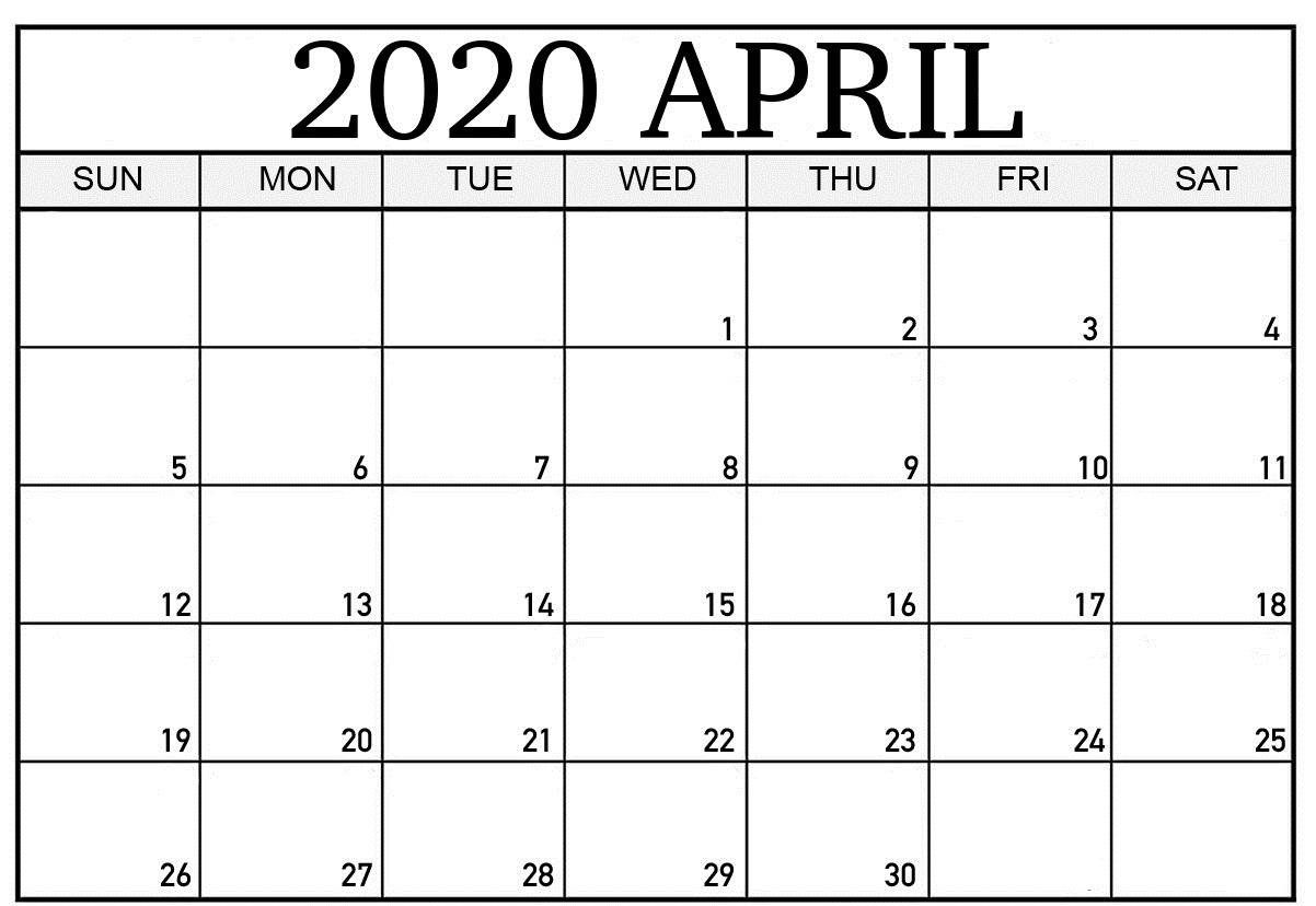 April 2020 Calendar Template Free