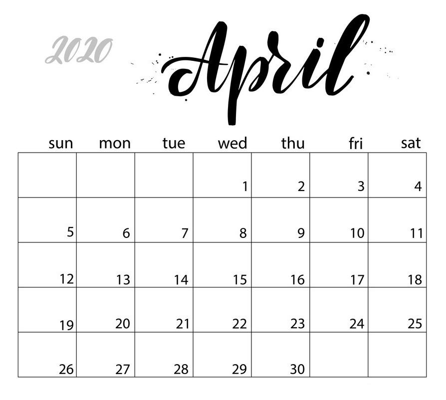 April 2020 Calendar Template Layout