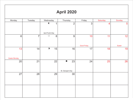 April 2020 Calendar With USA Holidays