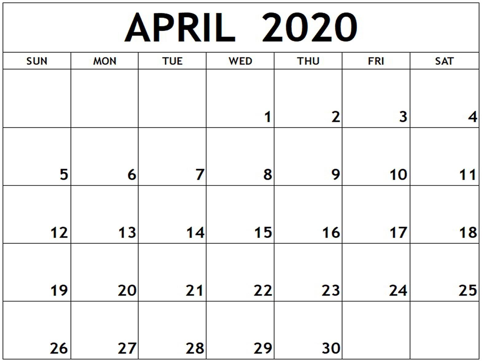 April 2020 Monthly Calendar For Kids
