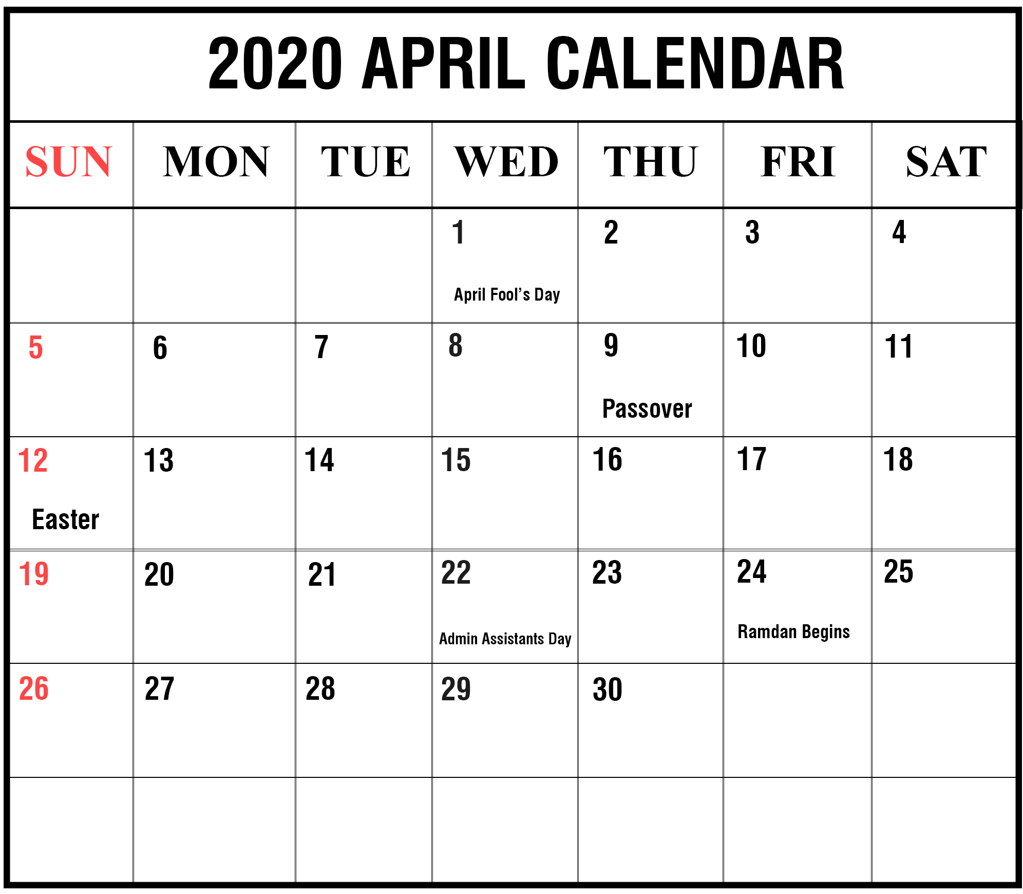 April 2020 Template With Holidays