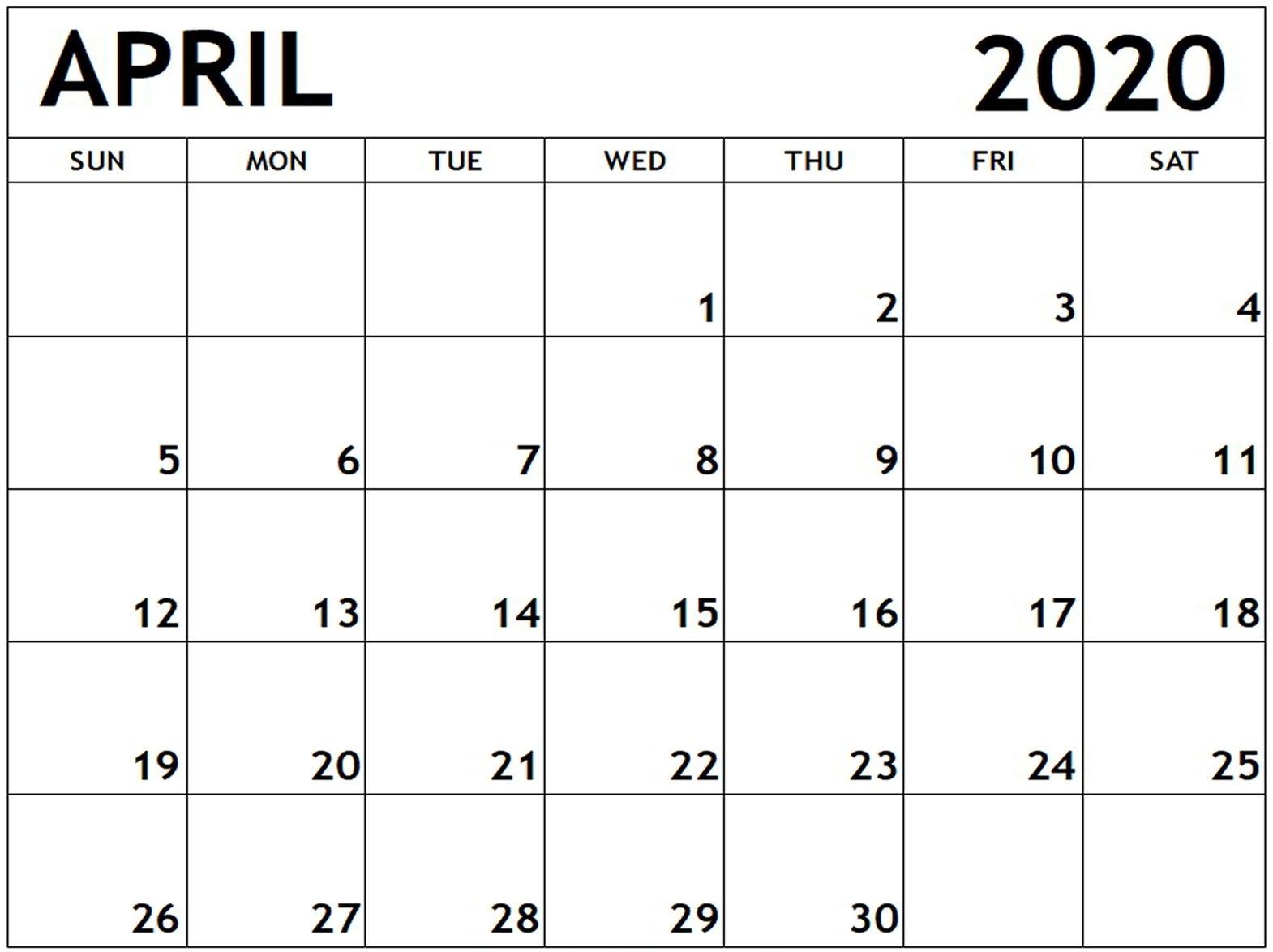 April Calendar 2020 Template