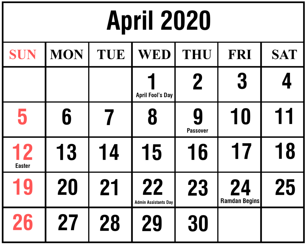 April Calendar 2020 With Holidays