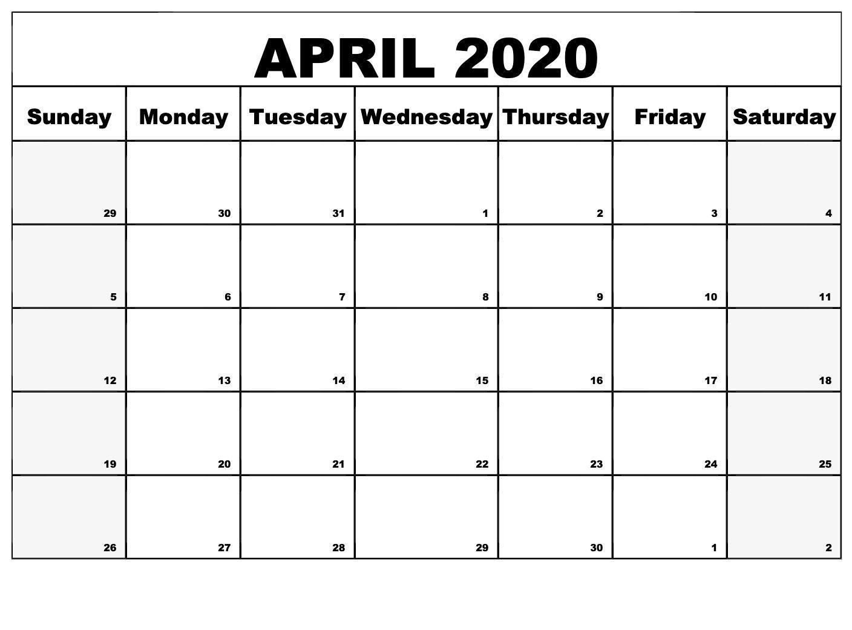April Calendar For 2020
