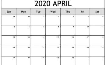 April Monthly Calendar 2020