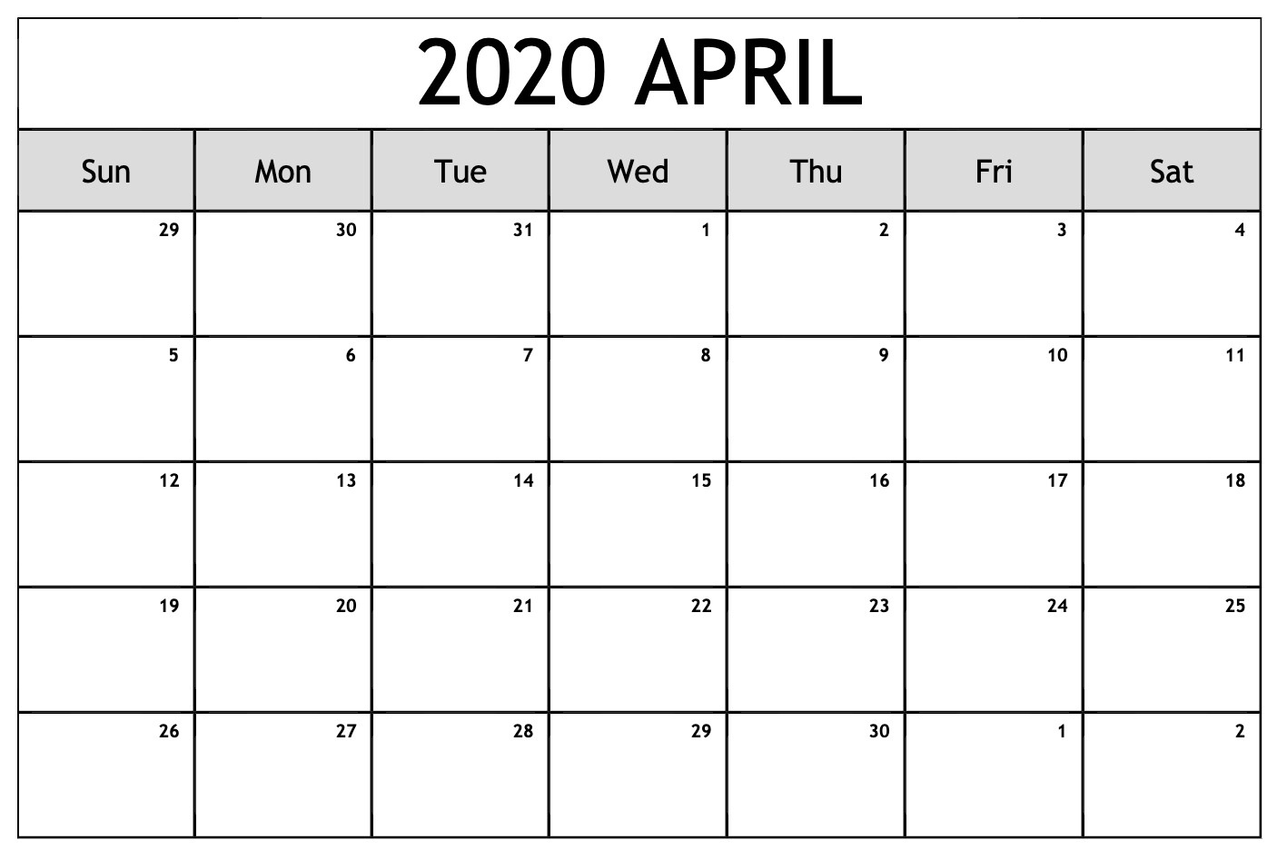 April Monthly Calendar 2020