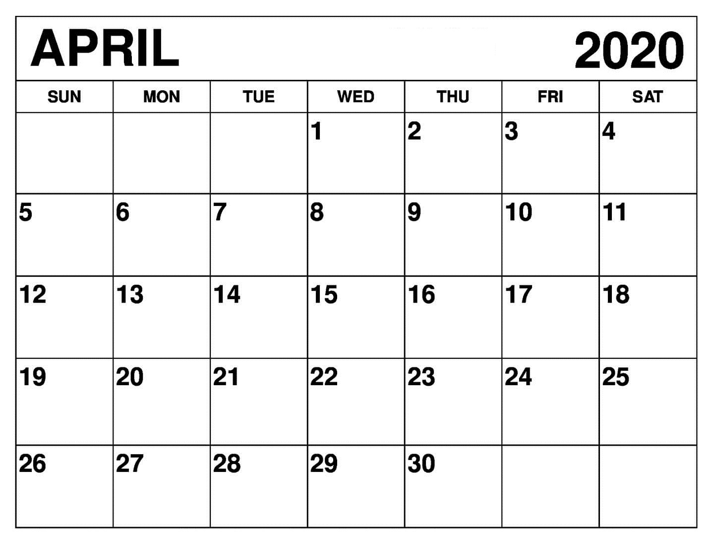 Blank April 2020 Calendar Excel