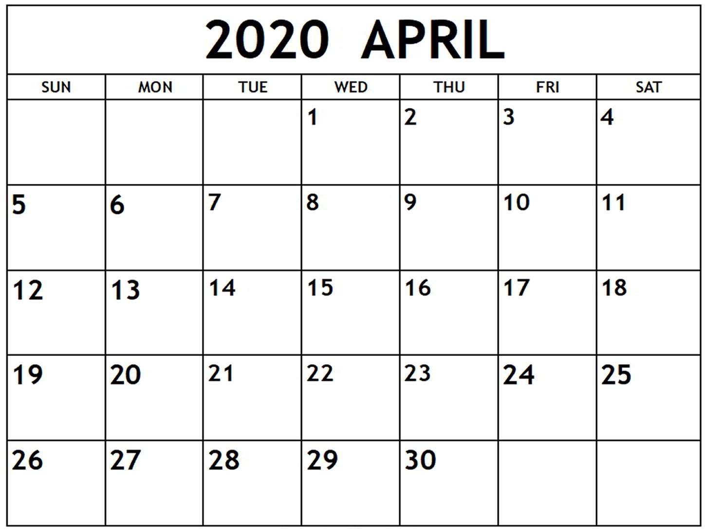 Blank April 2020 Calendar For Kids