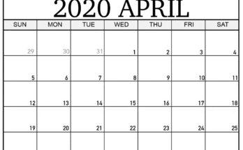 Blank April 2020 Calendar Free