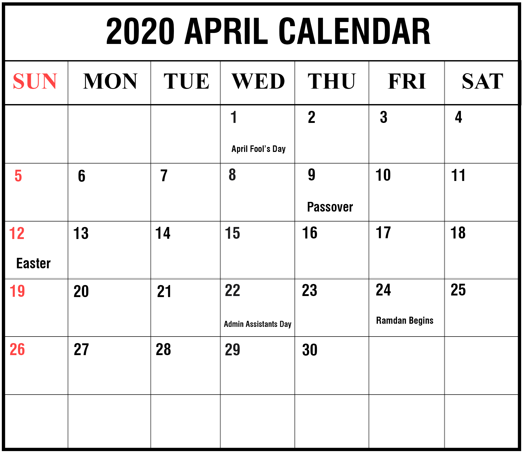Blank April 2020 Calendar With Holidays