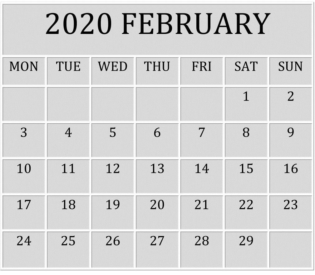 Blank February 2020 Calendar PDF