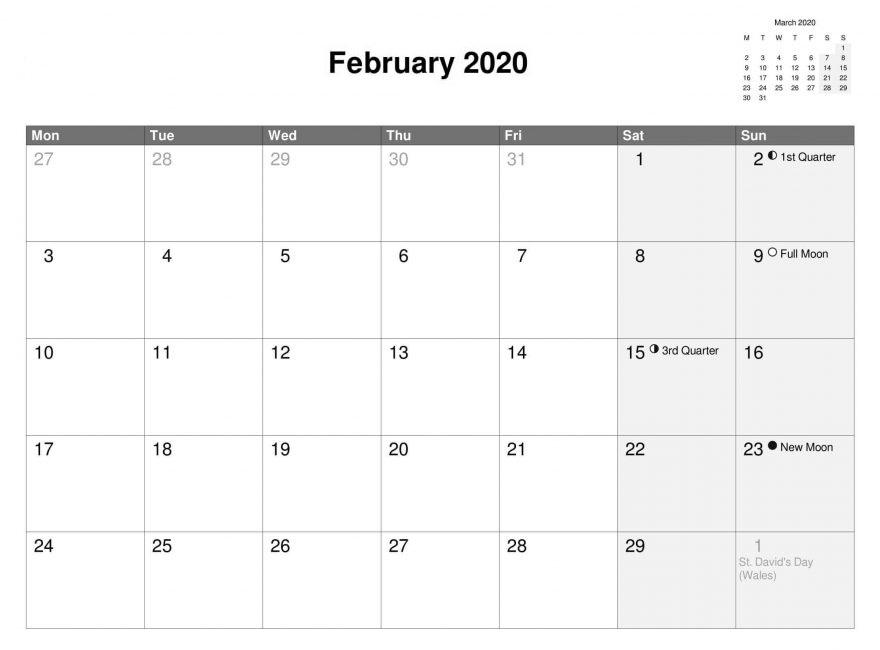 Blank February 2020 Calendar With Holidays