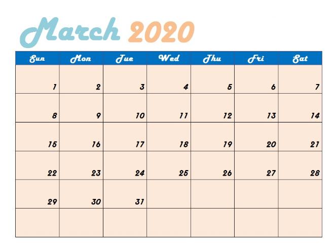 Blank March 2020 Calendar Free