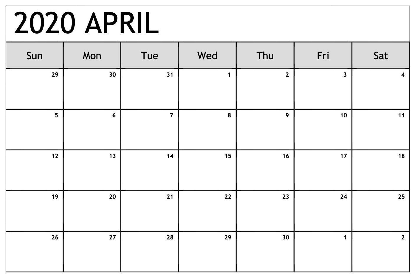 Calendar April 2020 Excel