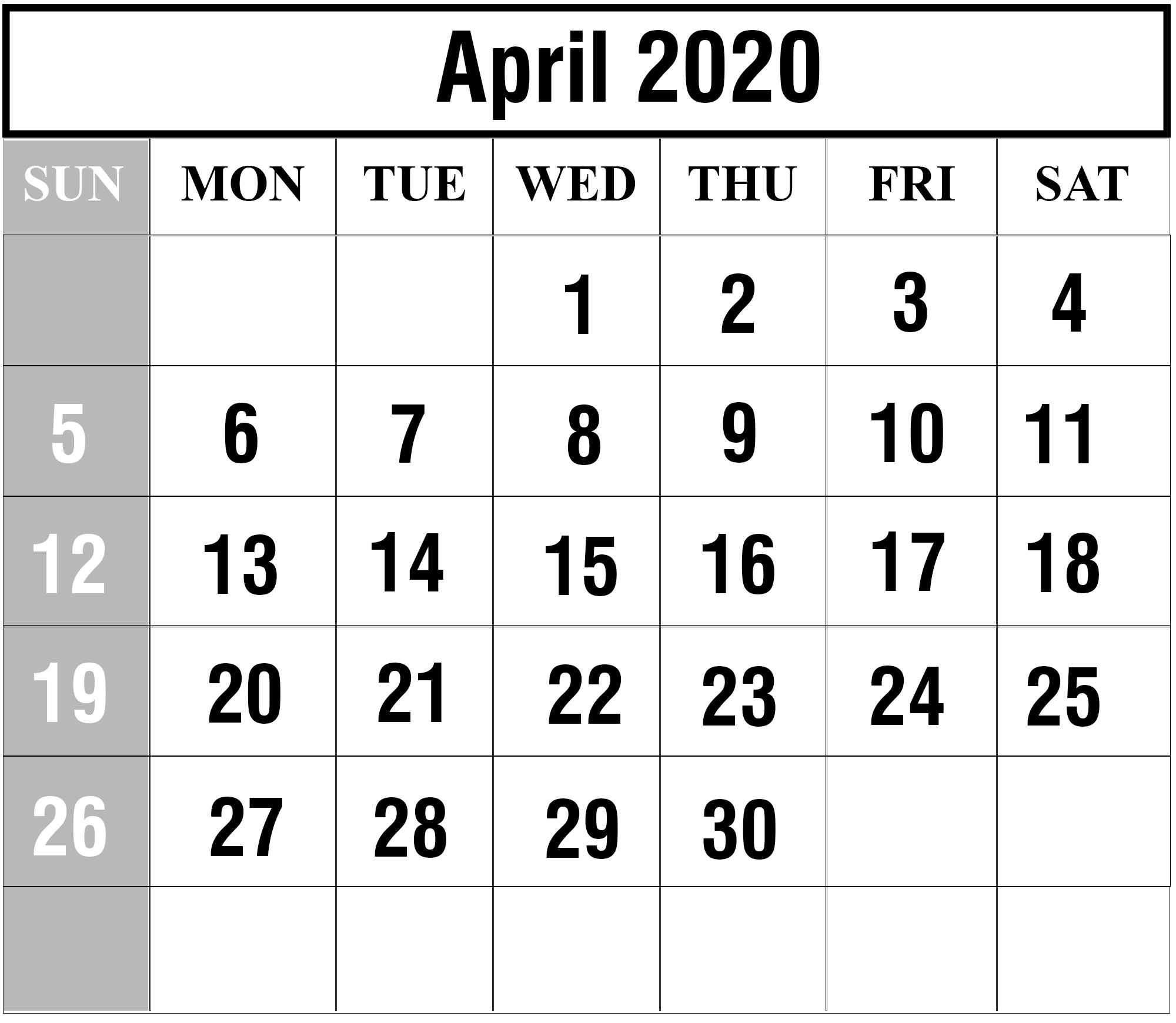 Calendar For 2020 April