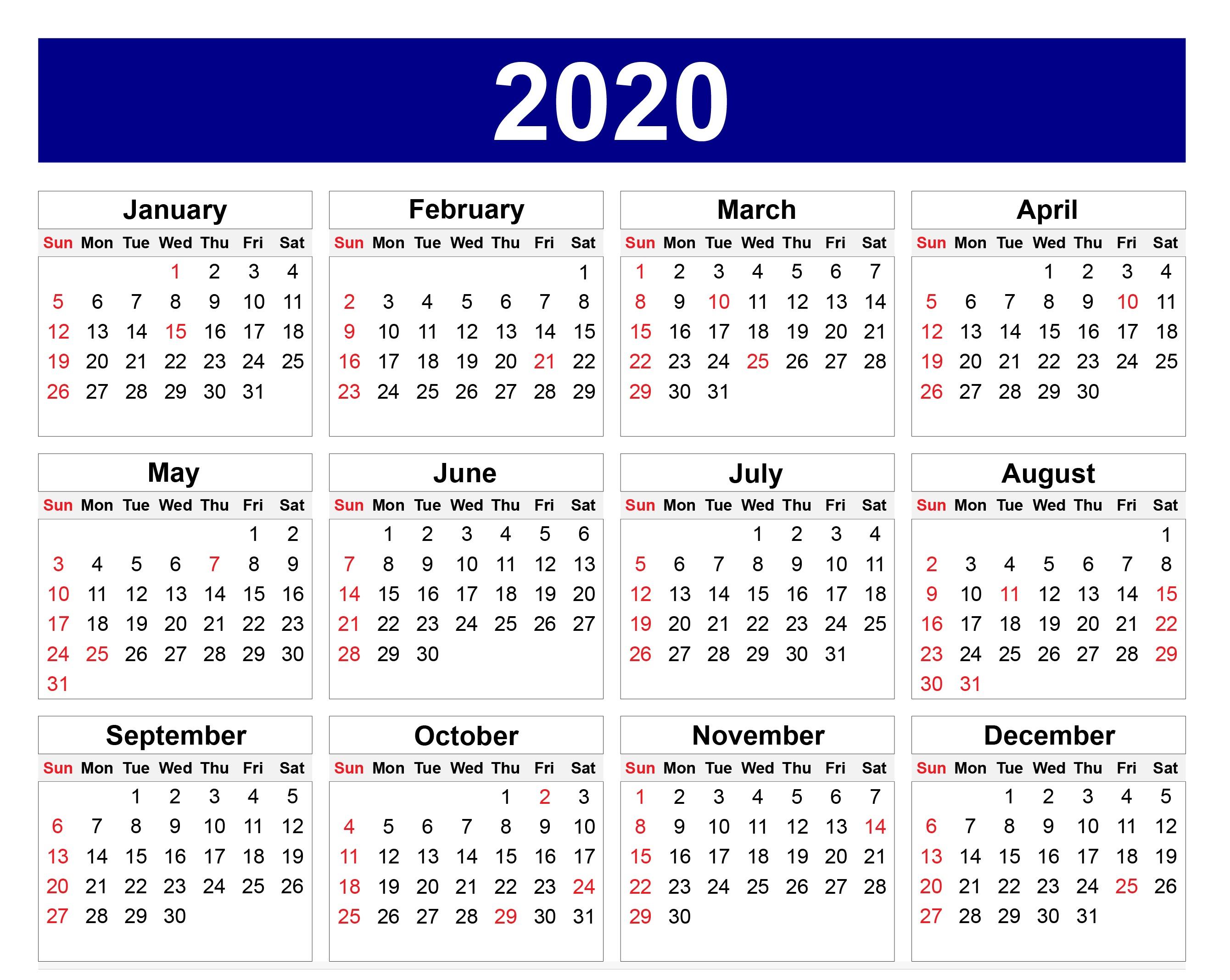 Calendar For 2020 Australia