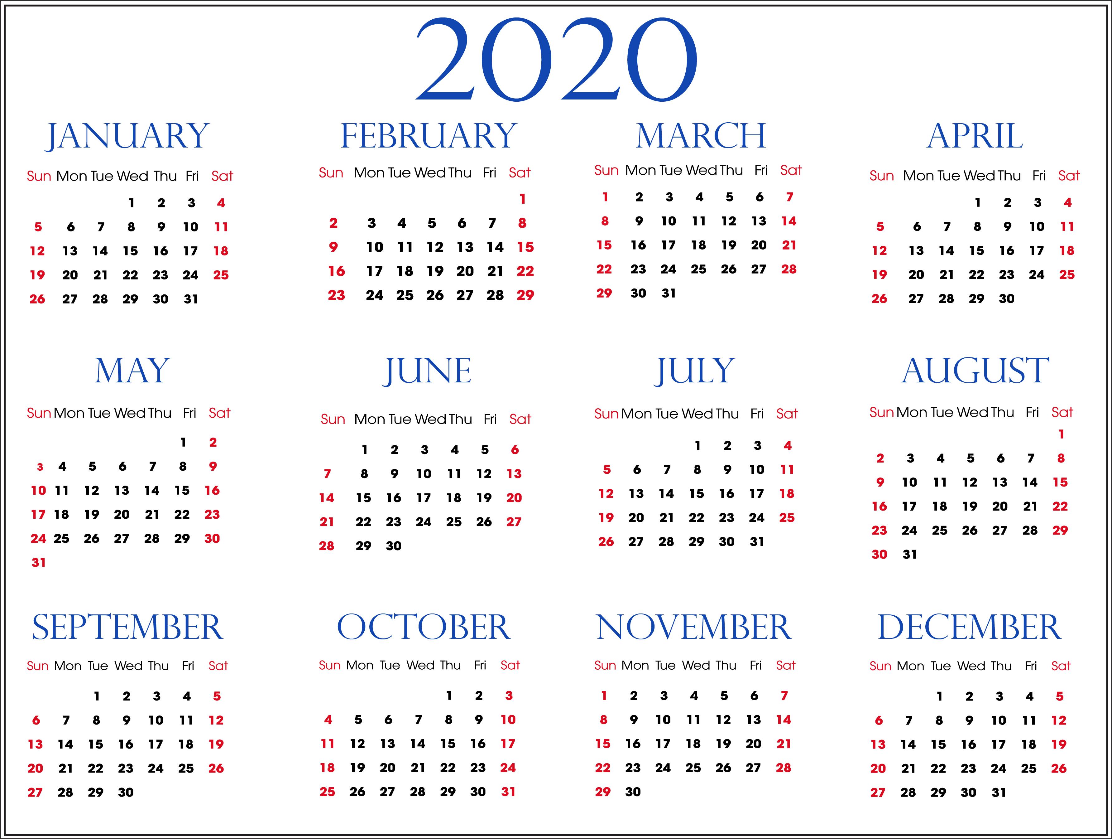 Calendar For 2020 Free