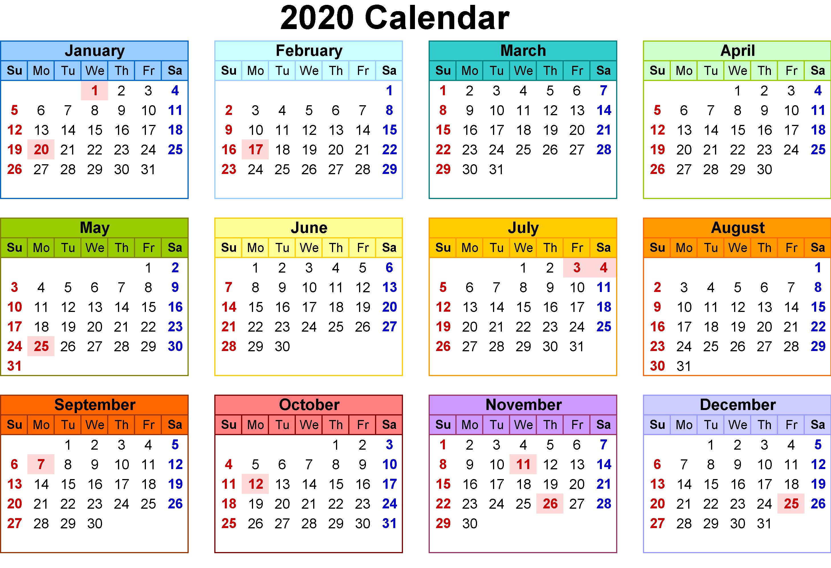 Calendar For 2020 UK