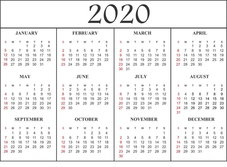 Calendar For 2020 Year