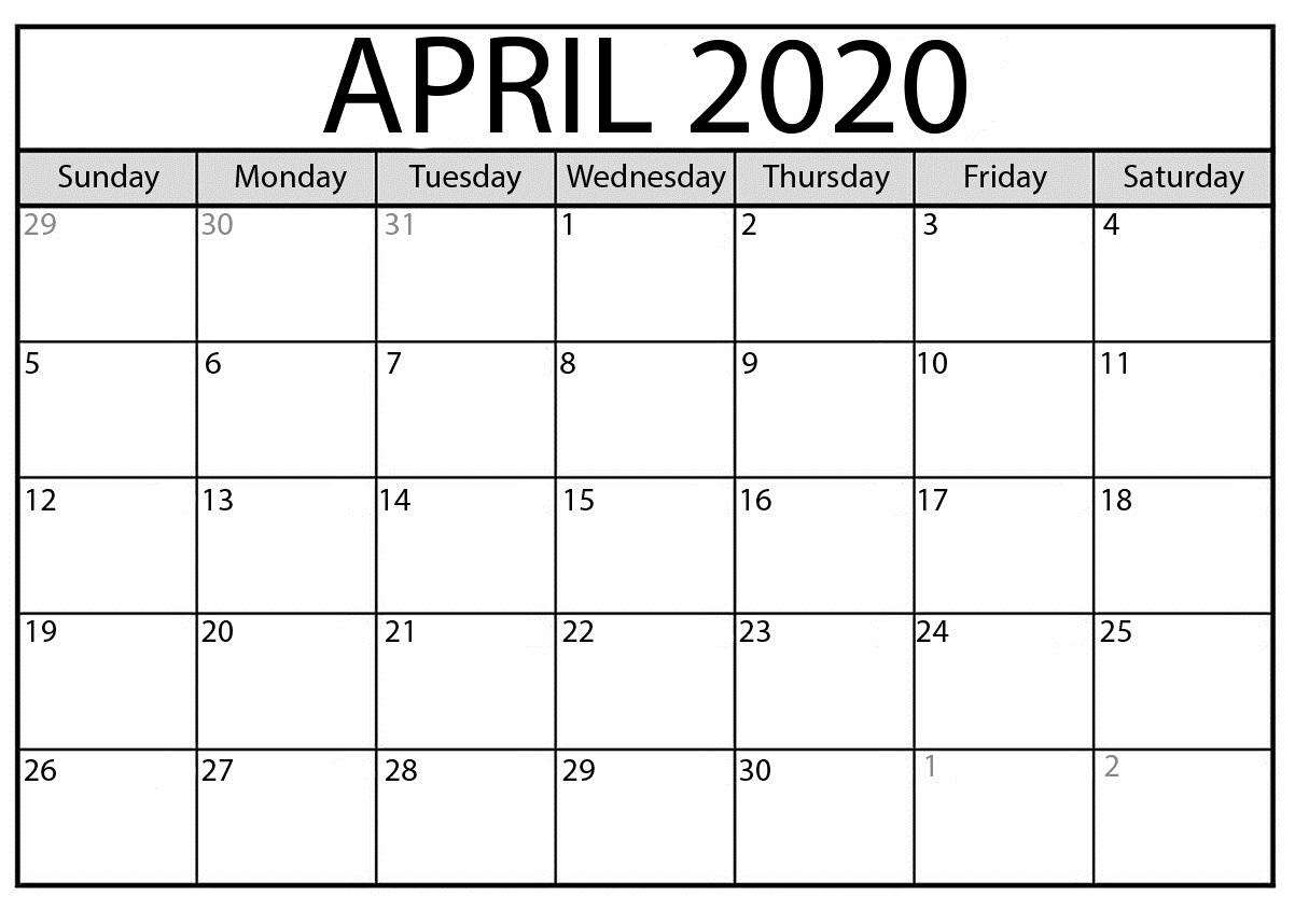 Calendar For April 2020 Free