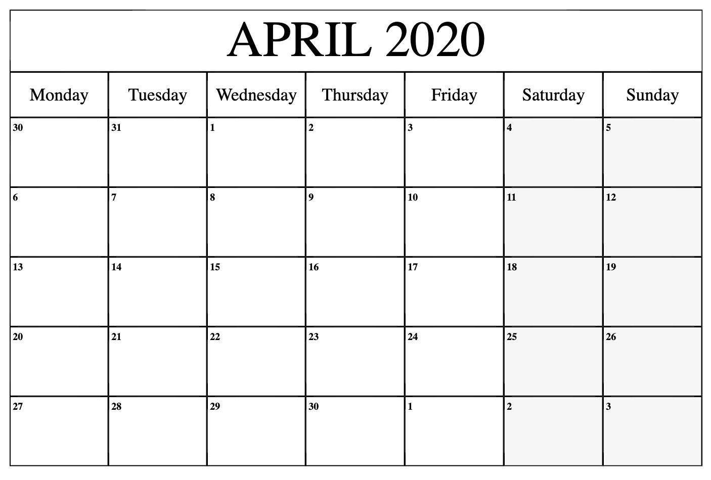 Calendar For April 2020 PDF