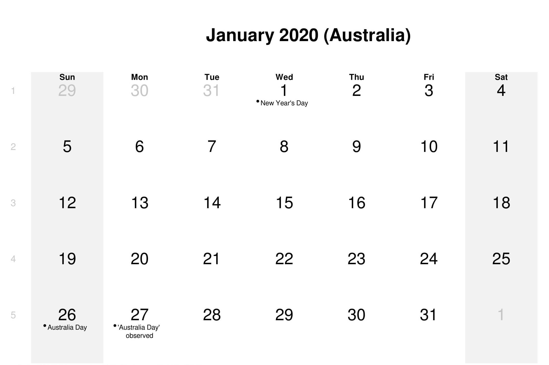 Calendar January 2020 With Holidays